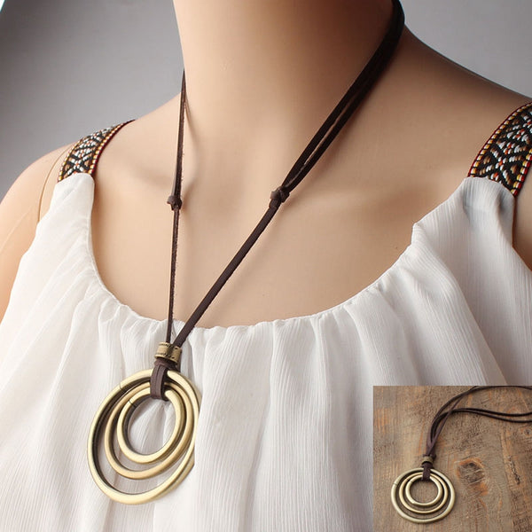 Vintage Leather Casual Metal Necklaces For Women