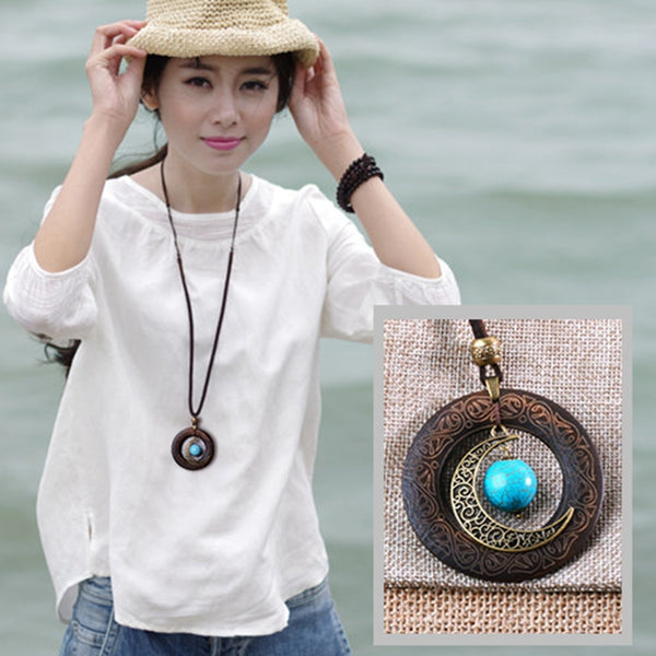 Pendant Retro Leather Casual Metal Wood Necklaces For Women