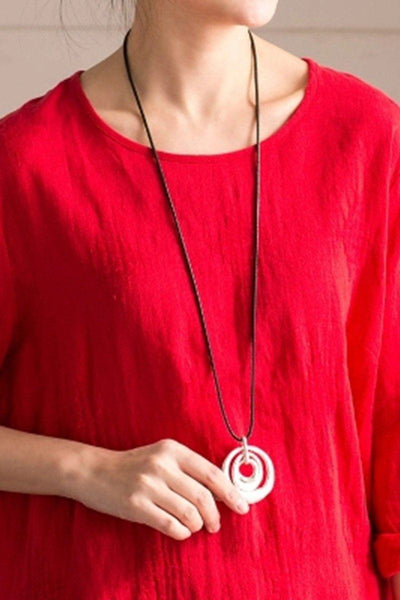 Circle Vintage Sweater Necklace Women Accessories E550A