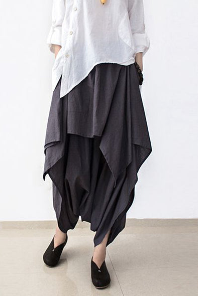 Cotton Wide Leg Pants Gray Women Trousers P4101