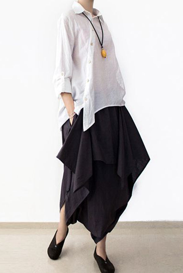 Cotton Wide Leg Pants Black Casual Loose Women Trousers P4101