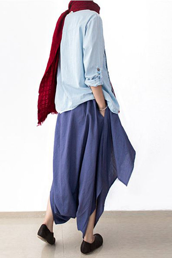 Cotton Wide Leg Pants Blue Casual Loose Women Trousers P4101