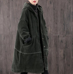 Winter Long Retro Corduroy Hooded Casual Coat, Brown Handmade Large Size Loose Coat, Thick Warm Women's Coat