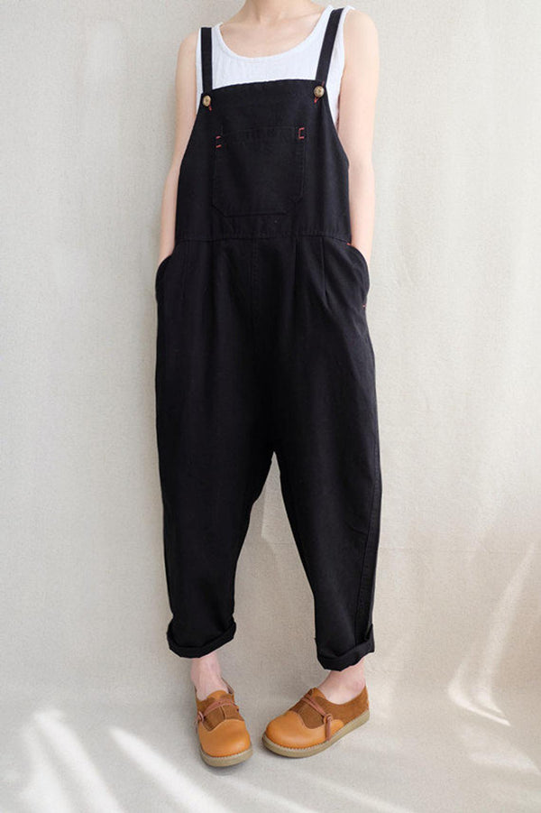 Women Leisure Cotton Jumpsuits Comfortable Dungarees Wide Leg Pants Casual Overalls With Pockets