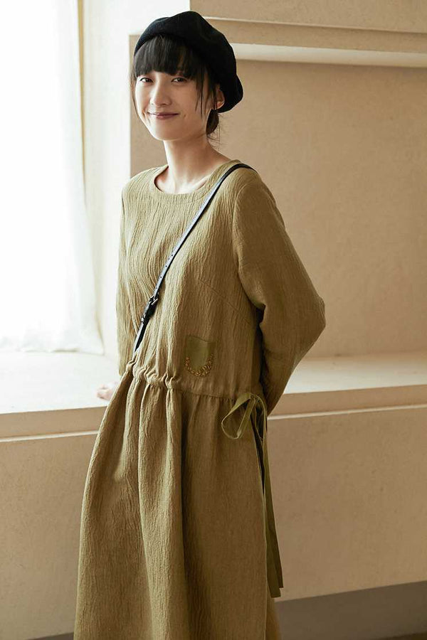 Vintage Linen Long sleeve Fall Winter Dress For Women