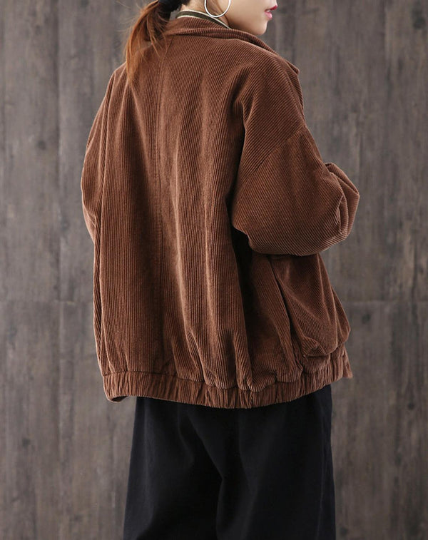 Women's Loose Large Size Casual Coat,Corduroy Coat Women Coat,Corduroy Loose Coat