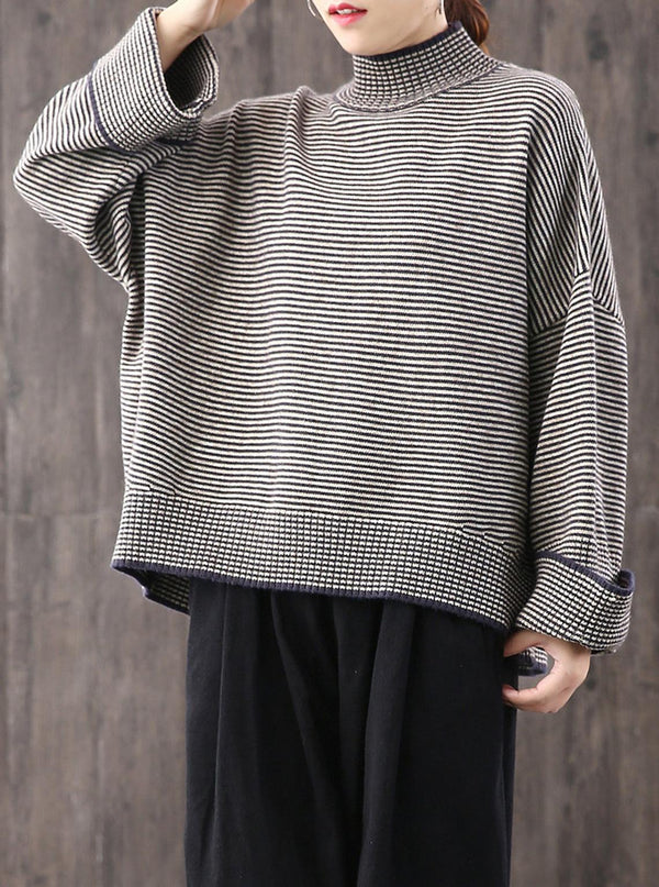 Loose High Collar Striped Sweater,Plus Size Top,Stylish Warm Sweater,Wide Sleeve Sweater