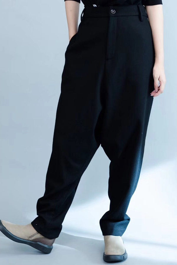 Wool Haroun Pants Pants Women Trousers in Black p1701 - FantasyLinen