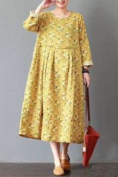 FantasyLinen Loose Linen Dress, Casual Yellow Dress For Spring Q3017