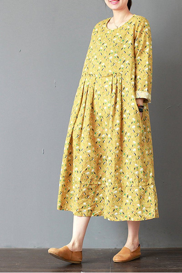 FantasyLinen Loose Linen Dress, Casual Yellow Dress For Spring Q3017 - FantasyLinen
