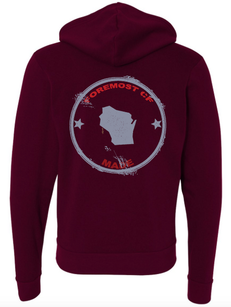 Full-Zip Hooded Sweatshirt Maroon