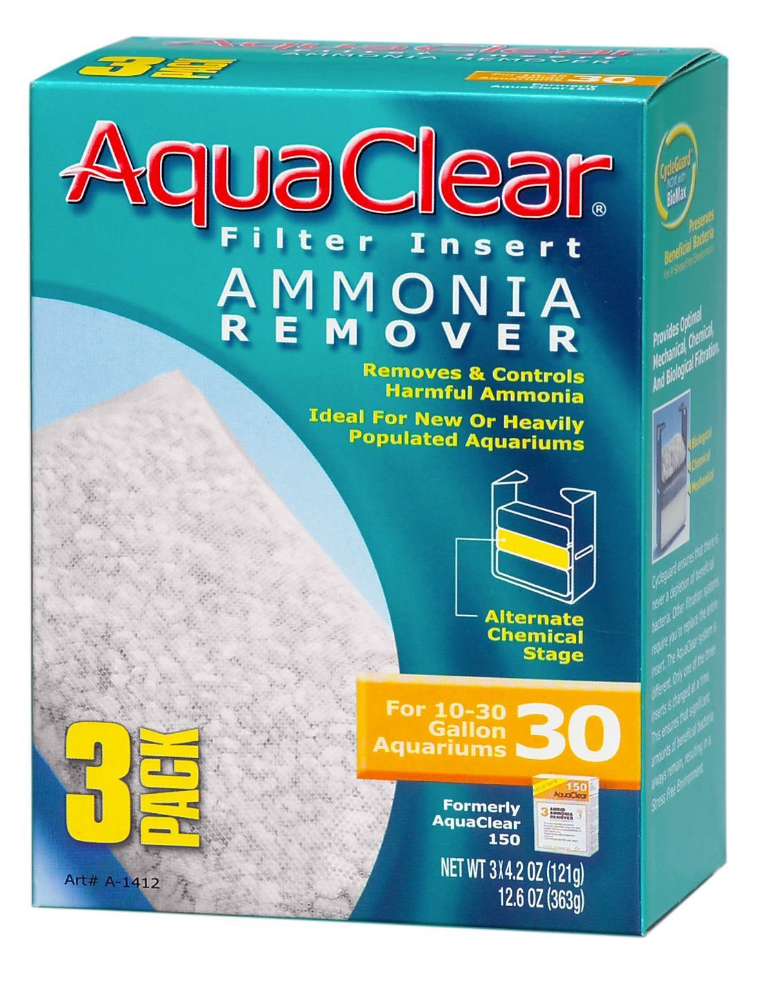 AquaClear Ammonia Remover Filter Insert - 3 Pack