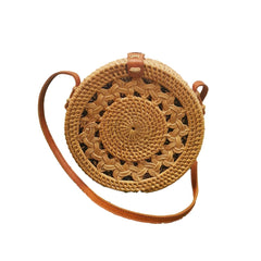 Round Rattan Bali Bag with Braid Pattern