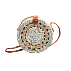 Round Rattan Bali Bag with Braid Pattern White
