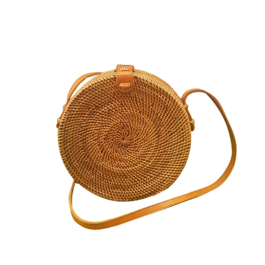 Round Rattan Bali Bag Brown