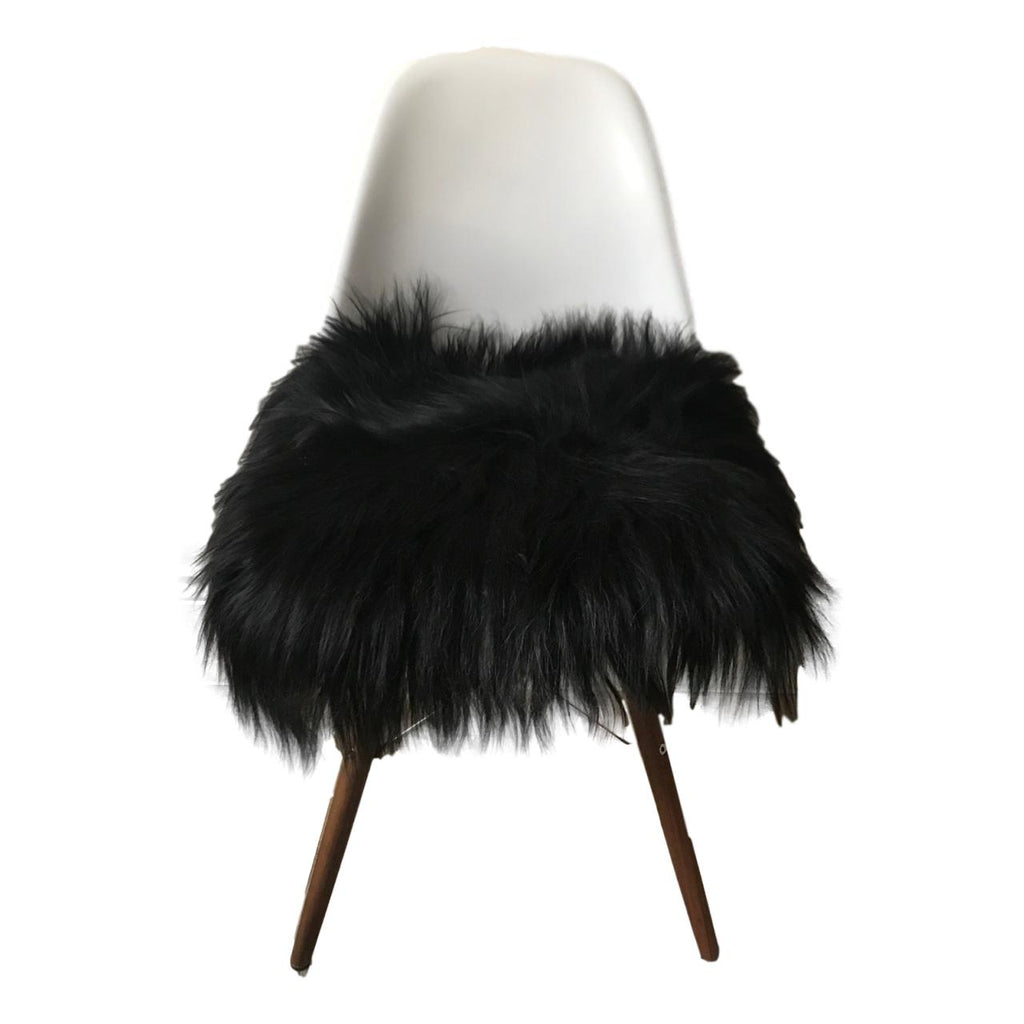 Sheepskin Seat Pad - Icelandic Long Wool - Natural Black