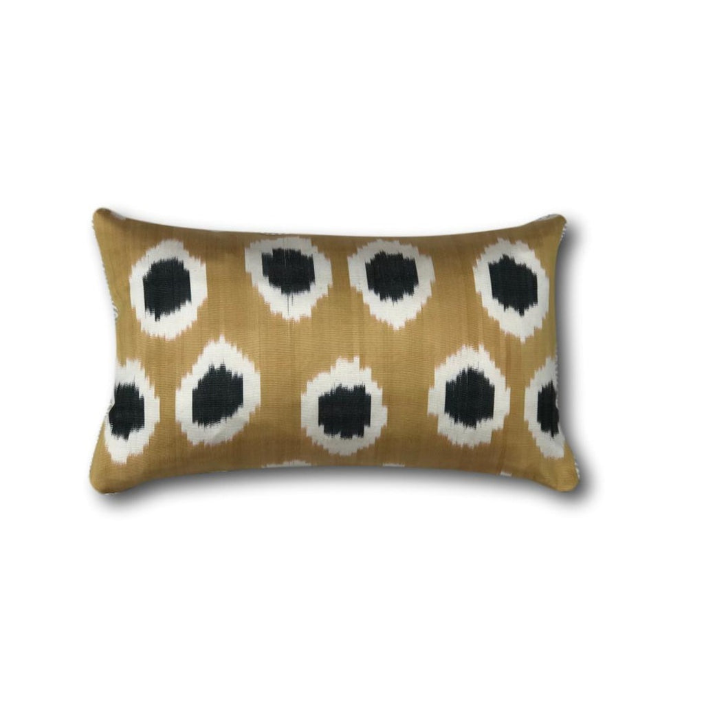 IKAT cushion cover - black and gold - double sided small - 25 x 40 cm