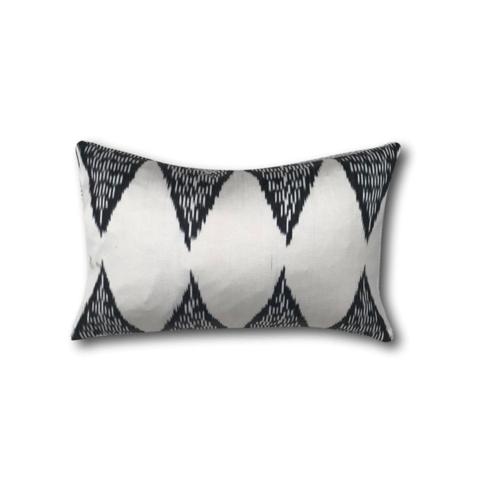 IKAT cushion cover - black and white - double sided small - 25 x 40 cm