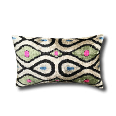 IKAT cushion cover - Green with Pink and Blue Dots - Velvet - 30 x 50 cm