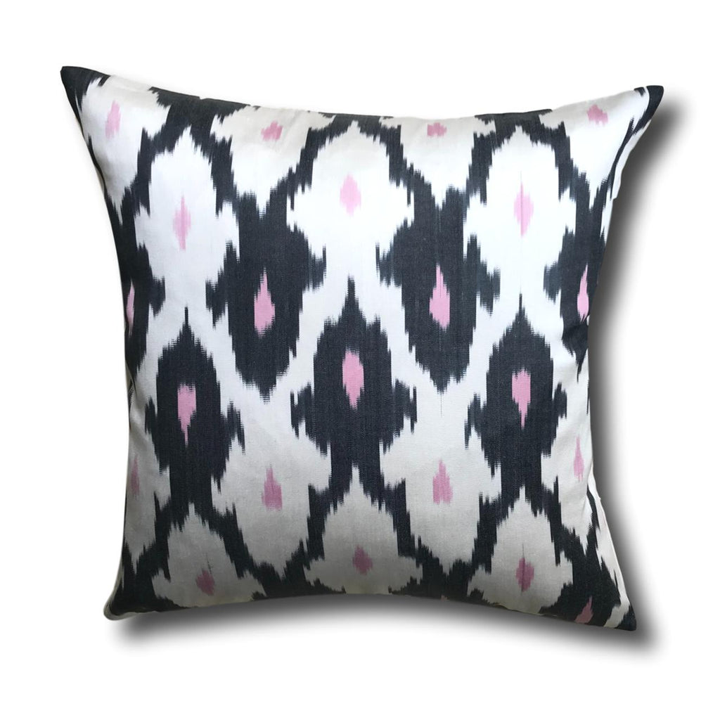 IKAT cushion cover - Black with Pink- 50 x 50 cm