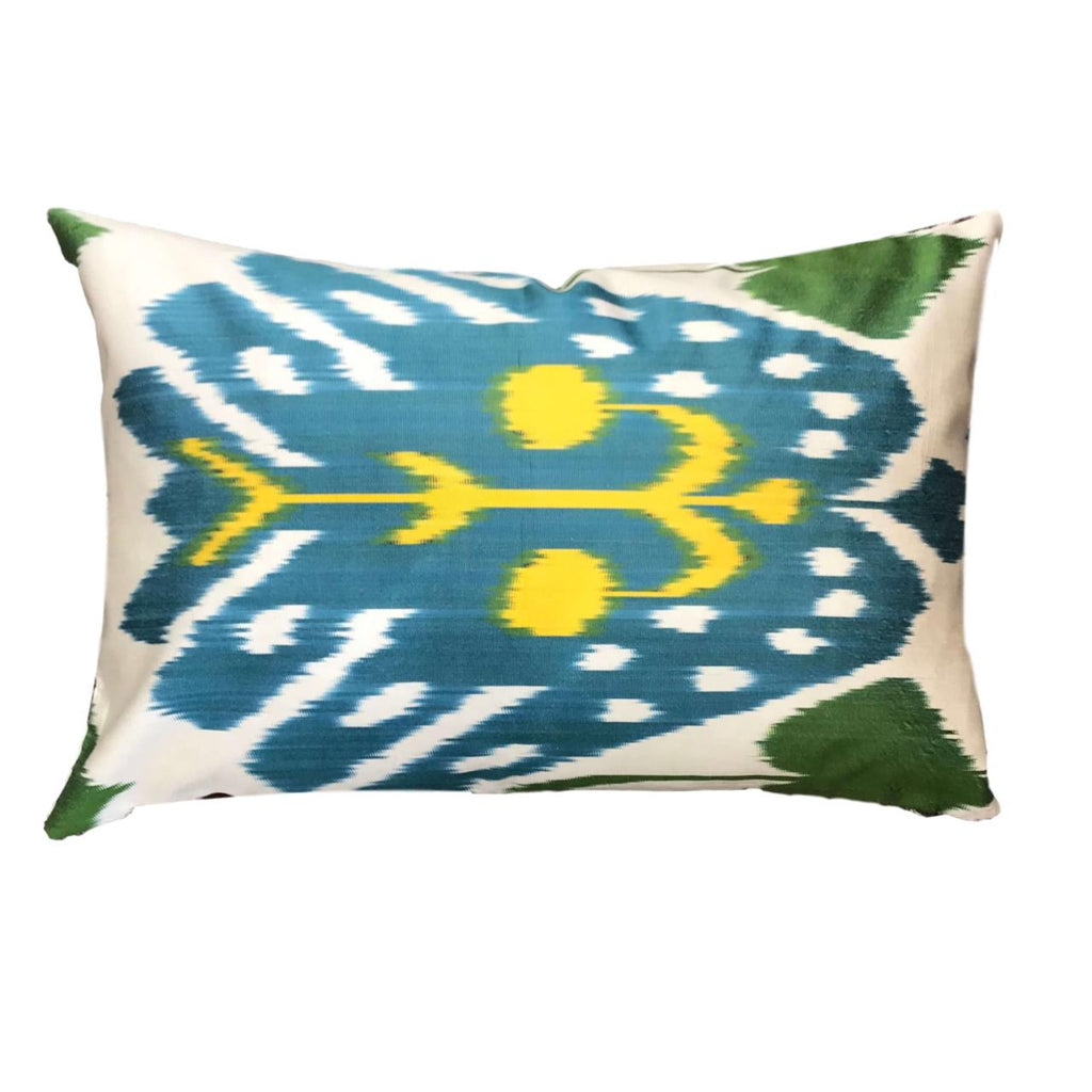 IKAT cushion cover - Blue, Green and Yellow - 40 x 60 cm