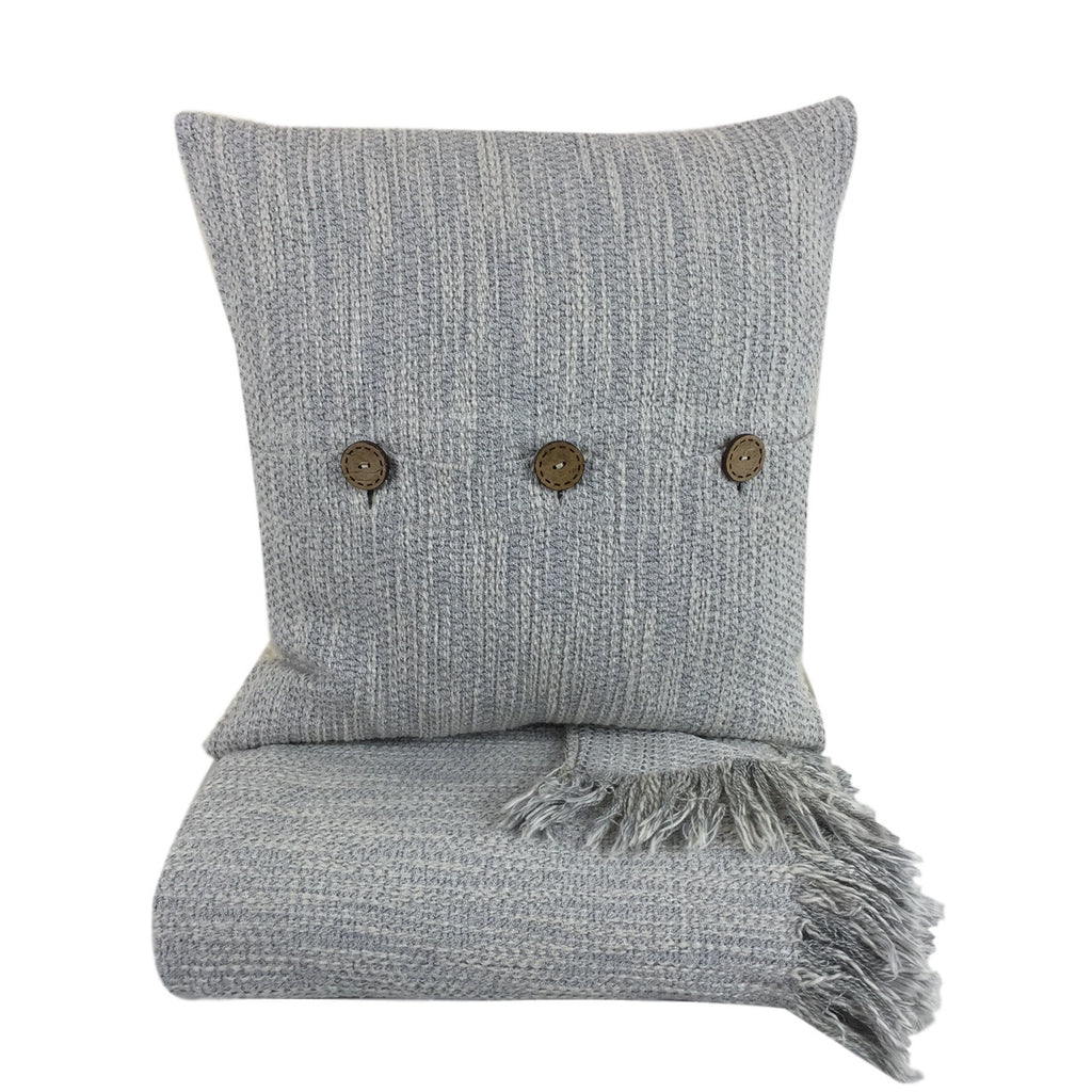 Blue/ Beige Cushion Cover with Buttons 45 x 45 cm - my little wish