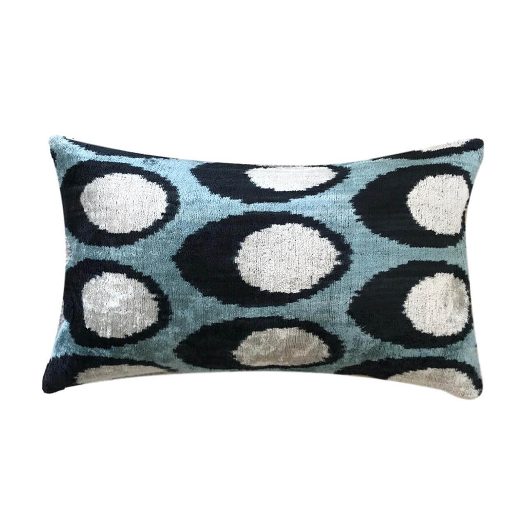 IKAT cushion cover - Blue - Velvet - 30 x 50 cm
