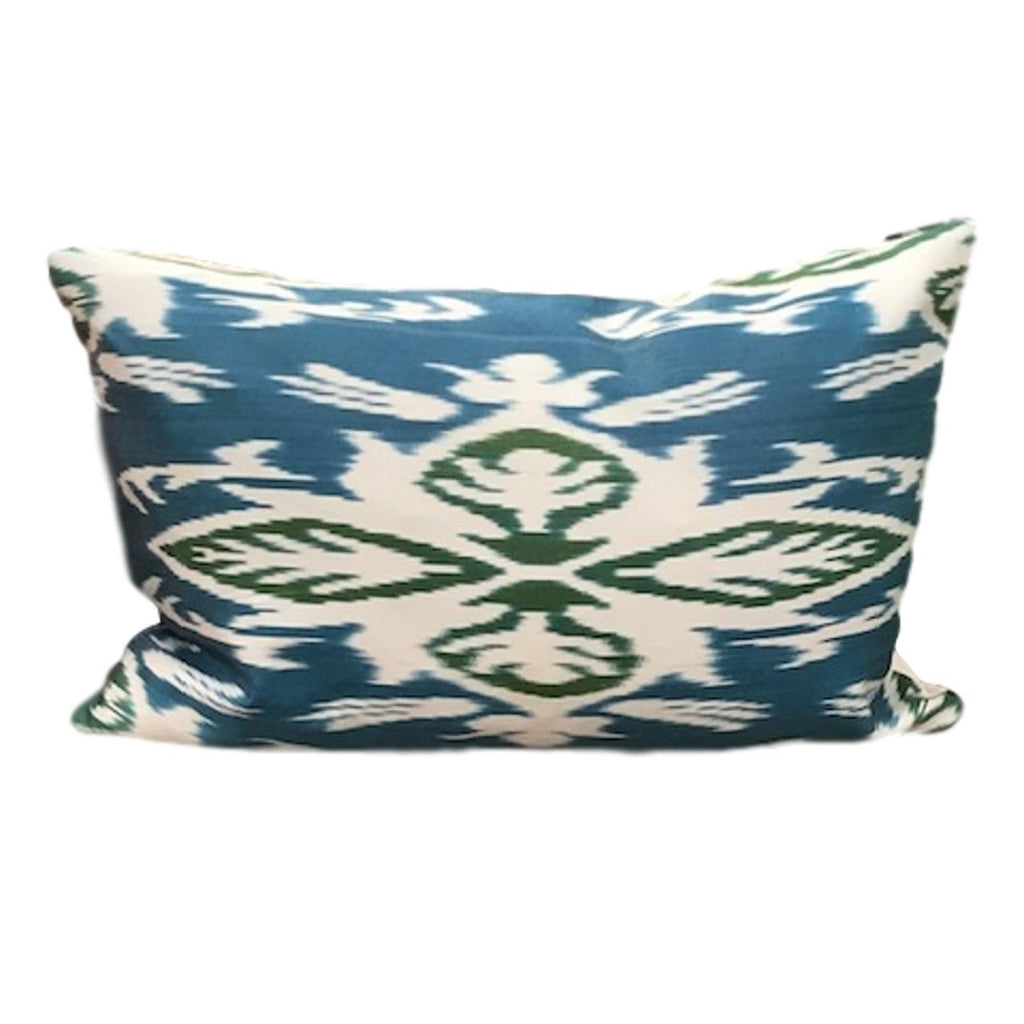 IKAT cushion cover - Blue and Green Flowers- 40 x 60 cm