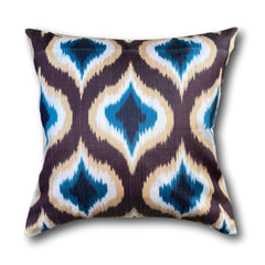 IKAT cushion cover -Blue with Brown Diamonds-  50 x 50 cm
