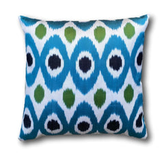 IKAT cushion cover -Blue with Green dots-  50 x 50 cm