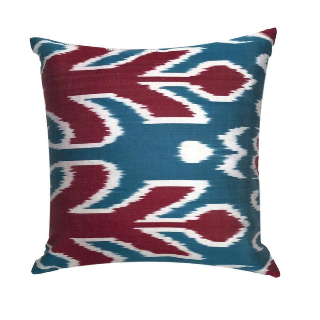 IKAT cushion cover - Blue and Red Corals - 40 x 40 cm