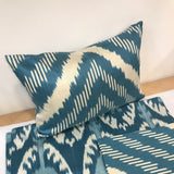 IKAT cushion cover - blue chevron - double sided small 25 x 40 cm