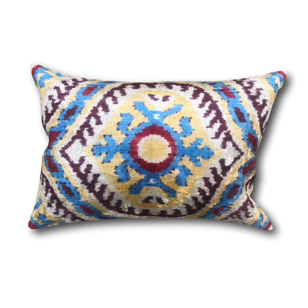 Velvet IKAT cushion cover - Blue Red and Yellow Eye - 40 x 60 cm