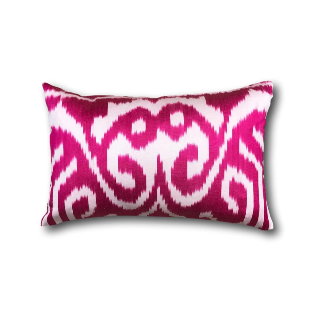 IKAT cushion cover - Hot Pink double sided small- 25 x 40 cm