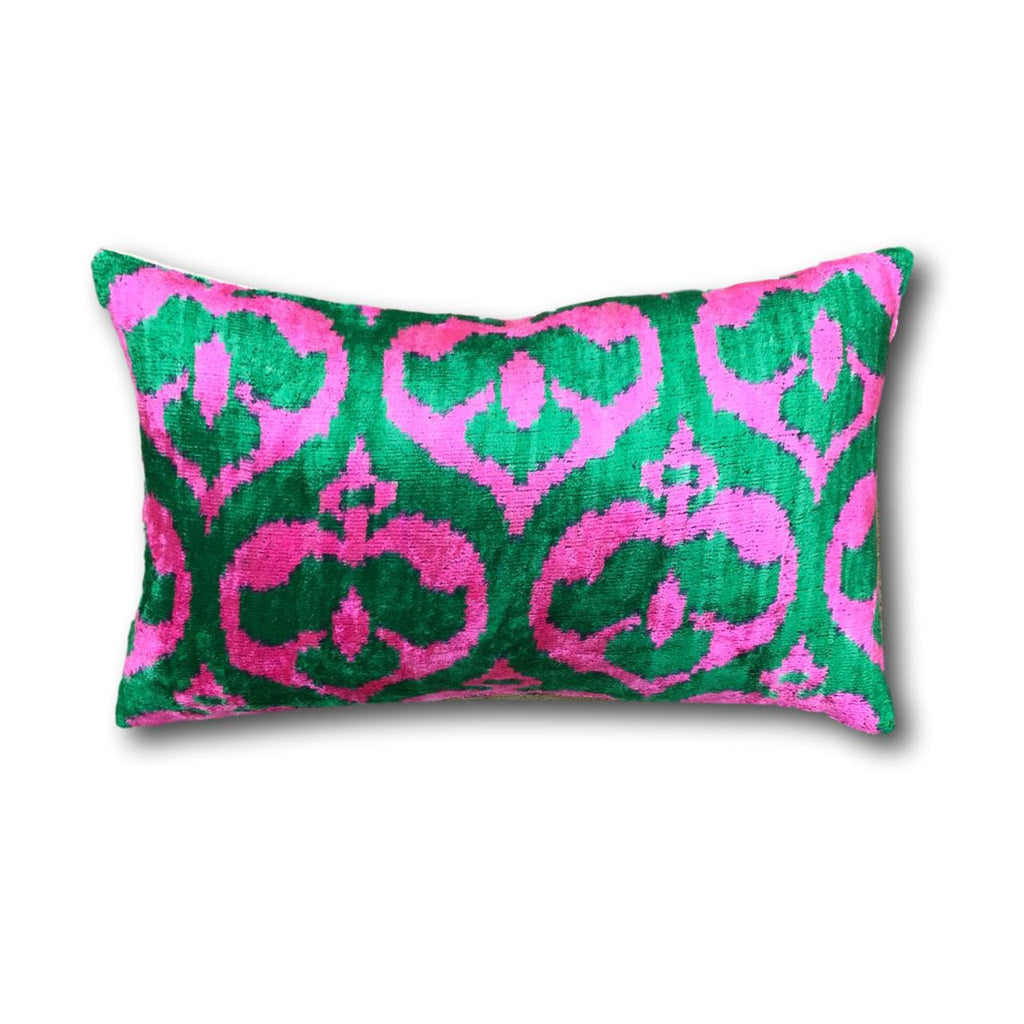 IKAT cushion cover - Bright Pink and Green - Velvet - 30 x 50 cm