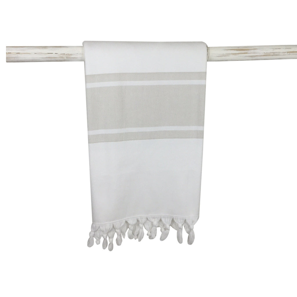 Classic cotton terry towel and bath sheet with beige stripe from my little wish