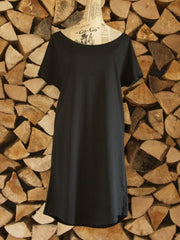 Oversized Cotton Day Dress - Black