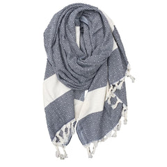 Diamond cotton scarf - Dark Navy