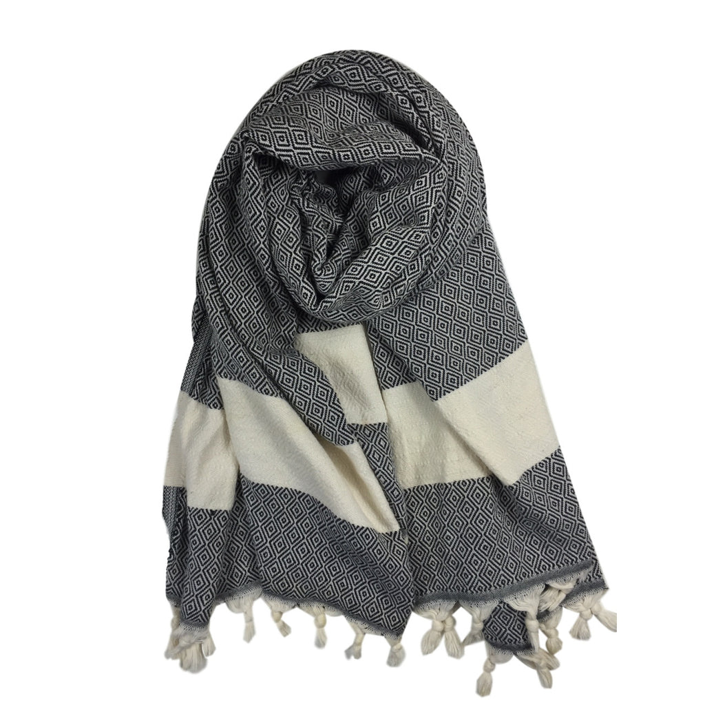 Diamond cotton scarf - Black - my little wish
