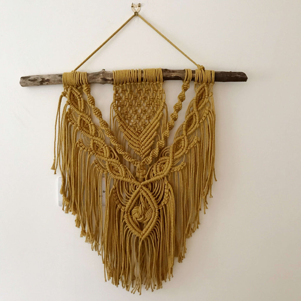 Boho Macrame Wall Hanging - Recycled Yarn - Medium - Mustard