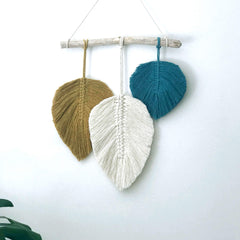 Boho Macrame Feather Trio Wall Hanging