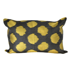 IKAT cushion cover - Grey with Yellow Dots - 40 x 60 cm