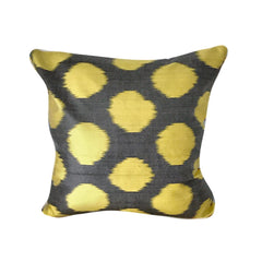 IKAT cushion cover - Grey with Yellow Dots - 45 x 45 cm