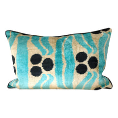 IKAT cushion cover - Turquoise - Velvet - 40 x 60 cm