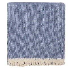 Handwoven Chevron Blanket - Blue