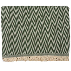 Handwoven Recycled Cotton Blanket - Green