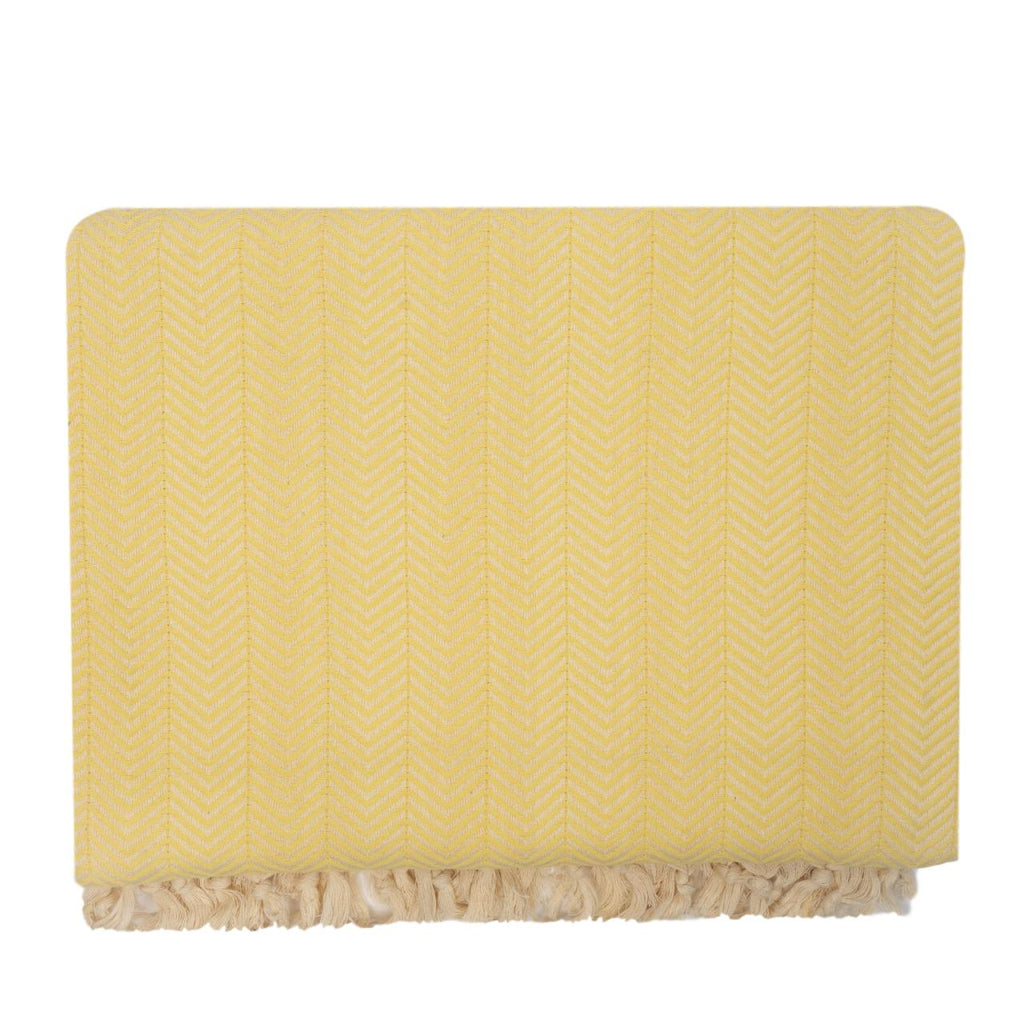 Handwoven Recycled Cotton Blanket - Yellow