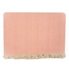 Handwoven Recycled Cotton Blanket - Peachy Pink