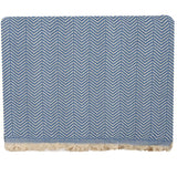 Handwoven Recycled Cotton Blanket - Blue
