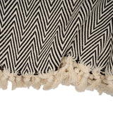 Handwoven Large Chevron Blanket - Black & White
